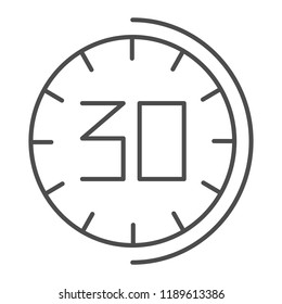 30 minutes watch thin line icon. Thirhty seconds time vector illustration isolated on white. Half an hour clock outline style design, designed for web and app. Eps 10