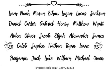 30 Most popular Men Male Names in USA . Calligraphy saying for print. Vector Quote