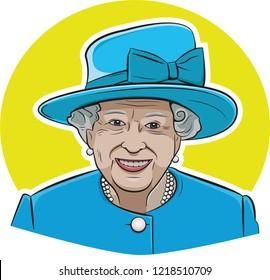 30 OCT, 2018. Queen Elizabeth II vector portrait.