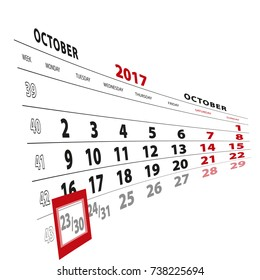 30 October highlighted on calendar 2017. Week starts from Monday. Vector Illustration.