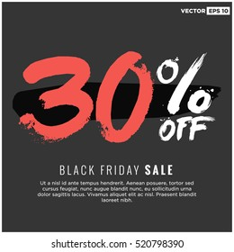 30% OFF Black Friday Sale (Promotional Poster Design Vector Illustration) With Text Box Template