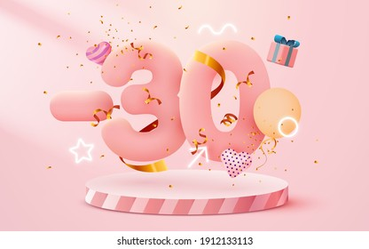 30% Off. Discount creative composition. 3d sale symbol with decorative objects, heart shaped balloons, golden confetti, podium and gift box. Sale banner and poster. Vector illustration.