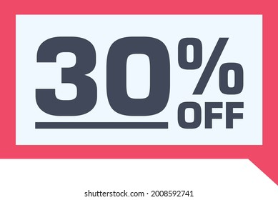 30% off. discount on red sale tag, gift card in comic balloon format. percent discount number on badge. Flat offer stamp. for use in online stores, flyers and digital marketing
