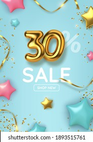 30 off discount promotion sale made of realistic 3d gold balloons with stars, sepantine and tinsel. Number in the form of golden balloons.  Vector illustration