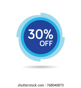 30% OFF Discount Sticker. Sale Blue Tag Isolated Vector Illustration. Discount Offer Price Label, Vector Price Discount Symbol.