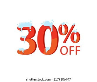 30% off. A discount of thirty percent. Numbers  in the snow. Winter sale, Christmas sale, holiday sale. Flat vector illustration