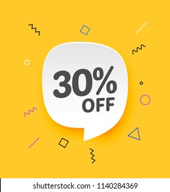 30% off, Flat sales Vector badges for Labels, , Stickers, Banners, Tags, Web Stickers, New offer. Discount badge in yellow background
