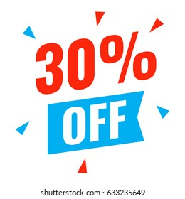 30% off. Flat vector illustration on white background. Can be used business company.