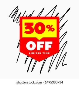 30% OFF Limited Time Sale Web Banner Design. 30% OFF SALE Promo Marketing Campaign Poster Creative Design.