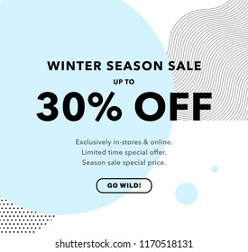 30% OFF Price Discount. Winter Season Sale. Promo banner design template. Trendy background. Flyer, poster, card, label, banner design. Vector illustration EPS10.