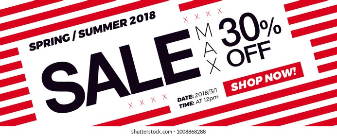 30% OFF price. Sale promotion campaign web banner or newsletter design template. Fashion and stylish promo discount coupon. Summer Sale modern Special offer web banner or email horizontal template.