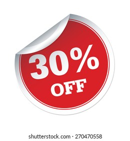 30 % off red vector sticker