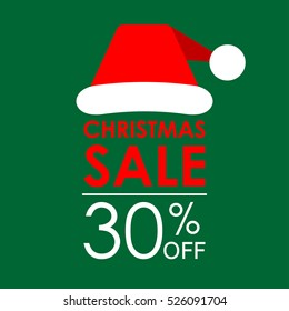 30% off sale. Christmas sale banner and discount design template with Santa Claus hat. Vector illustration.
