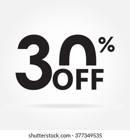 30% off. Sale and discount price sign or icon. Sales design template. Shopping and low price symbol. Vector illustration.