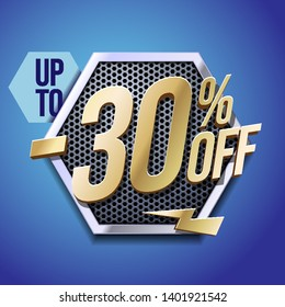 Up To 30% Off Special Offer Gold 3D Digits Banner, Template Thirty Percent. Sale, Discount. Technology. Metal, Gray, Glossy Numbers. Illustration On Blue Background. Ready For Your Design.