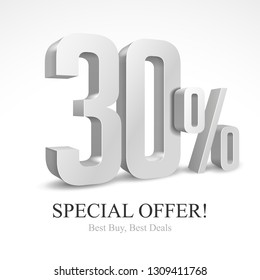 30% Off Special Offer Silver 3D Digits Banner, Template Thirty Percent. Sale, Discount. Grayscale, Metal, Gray, Glossy Numbers. Illustration Isolated On White Background. Ready For Your Design. Vector