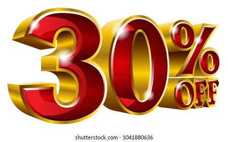 30% off - Thirty percent off discount gold and red sign. Vector illustration. Special Offer 30 % Off Discount Tag. Ideal for Sticker, Banner, Advertising, TV Commercial and any kind of Decoration.