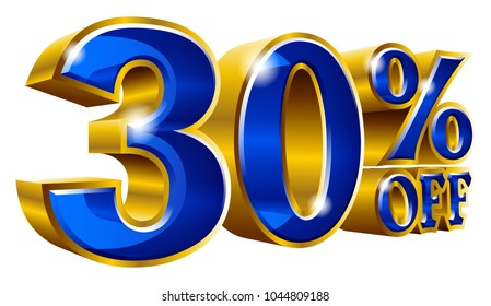 30% off - Thirty percent off discount gold and blue sign. Vector illustration. Special Offer 30 % Off Discount Tag. Ideal for Sticker, Banner, Advertising, TV Commercial and any kind of Decoration.