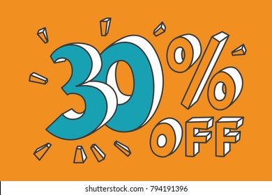 30 % off. Turquoise thirty number on yellow background. Hand drawn funny doodle design for flyer, poster, banner, icon or header. Vector EPS10