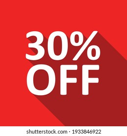 30% off white text on a red background
