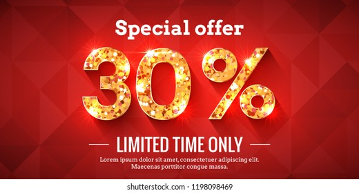 30 Percent Bright Red Sale Background with golden glowing numbers. Lettering - Special offer for limited time only