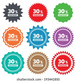 30 percent discount sign icon. Sale symbol. Special offer label. Stars stickers. Certificate emblem labels. Vector