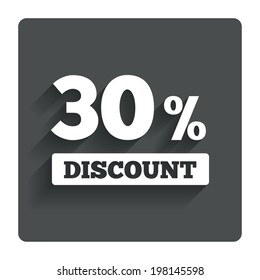 30 percent discount sign icon. Sale symbol. Special offer label. Gray flat button with shadow. Modern UI website navigation. Vector