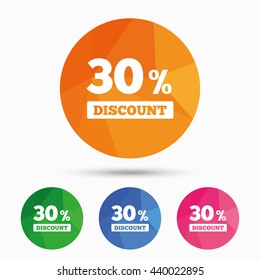 30 percent discount sign icon. Sale symbol. Special offer label. Triangular low poly button with flat icon. Vector