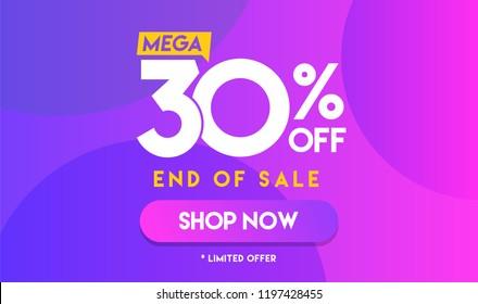 30 percent Mega Discount sale Colorful minimal gradient blue pink vector illustration banner