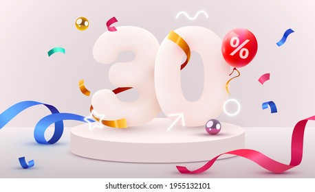 30 percent Off. Discount creative composition. 3d sale symbol with decorative objects, heart shaped balloons, golden confetti, podium and gift box. Sale banner and poster. Vector illustration.