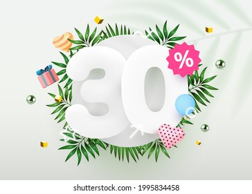 30 percent Off. Discount creative composition. Summer sale 30% banner with decorative objects, palm leaves and gift box. Sale banner and poster. Vector illustration.