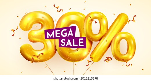30 percent Off. Discount creative composition of golden balloons. 3d 90% mega sale or thirty percent bonus symbol with confetti. Sale banner and poster. Vector illustration.