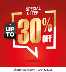 30 percent off sale isolated gold red sticker icon