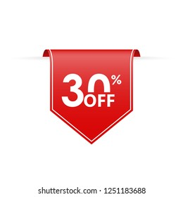 30 percent off. Sale tag ribbon or pennant. Price off and discount badge. Vector illustration.
