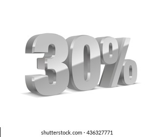 30% percent off, sale white background, silver-gray object 3D. Eps10 Vector.