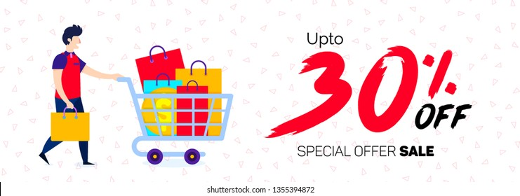 30 Percent offer Banner 30% Discount Sale Off big offer 30% Offer banner Sale Special Offer Tag Banner Advertising Promotional Poster Design Vector Offers Mobile Fashion Electronics Home Appliances Bo
