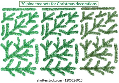 30 pine tree sets for Christmas decorations