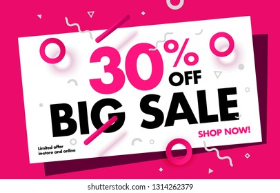 30% Price Discount Sale Advertisement Special Offer Web Banner. Promotion Discount 30% Campaign Creative Design. Vector Illustration.