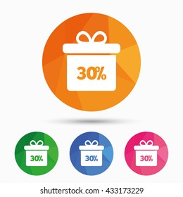 30% sale gift box tag sign icon. Discount symbol. Special offer label. Triangular low poly button with flat icon. Vector