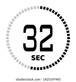 The 30 seconds, stopwatch icon, digital timer. Digital Countdown Timer Vector Icon. Clock and watch, timer.