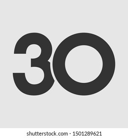 30 th anniversary numbers. 30 years old congrats, cut logotype. Congratulation idea. Isolated abstract graphic design template. Round shape digits. Up to 30% off discount. Anniversary logo concept.