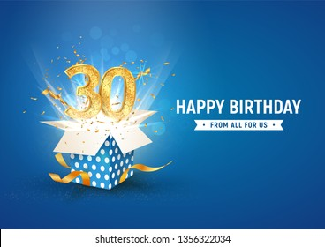 30 th years anniversary banner with open burst gift box. Template thirty birthday celebration and abstract text on blue background vector illustration