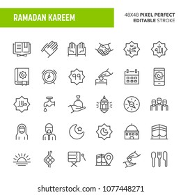 30 thin line icons associated with Ramadan. Symbols such as charity and other islamic and ramadan related objects are included in this set. 48x48 pixel perfect vector icon with editable stroke.