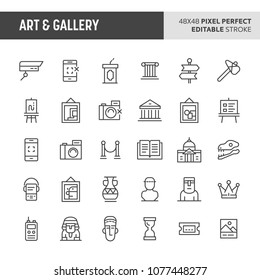 30 thin line icons associated with art & gallery. Symbols such as historical object, artworks & museum related items are included in this set. 48x48 pixel perfect vector icon with editable stroke.