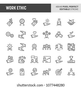 30 thin line icons associated with employment & work ethic. Symbols such as morality, proficiency, optimism and empathy are included in set. 48x48 pixel perfect vector icon with editable stroke.