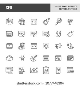30 thin line icons associated with search engine optimisation (SEO). Symbols such as dashboard, statistic, analysis & strategy are included in set. 48x48 pixel perfect vector icon, editable stroke.
