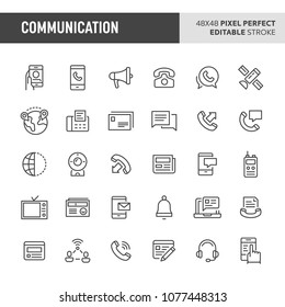 30 thin line icons associated with communication. Symbols such as verbal & written  communication, video call & correspondence are included in set. 48x48 pixel perfect vector icon, editable stroke.
