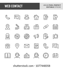 30 thin line icons associated with website & internet contact. Symbols such as contact method, contact status & location are included in this set. 48x48 pixel perfect vector icon, editable stroke.