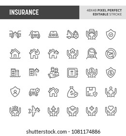 30 thin line icons associated with insurance. Symbols such as car, house, business and personal life insurance are included in this set. 48x48 pixel perfect vector icon & editable vector..