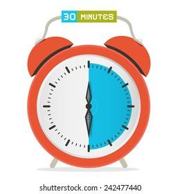 30 - Thirty Minutes Stop Watch - Alarm Clock Vector Illustration